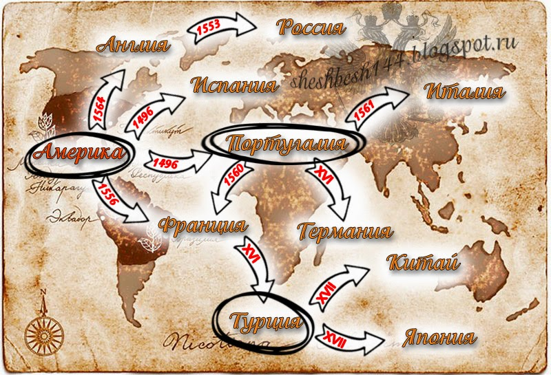 распространение табака карта