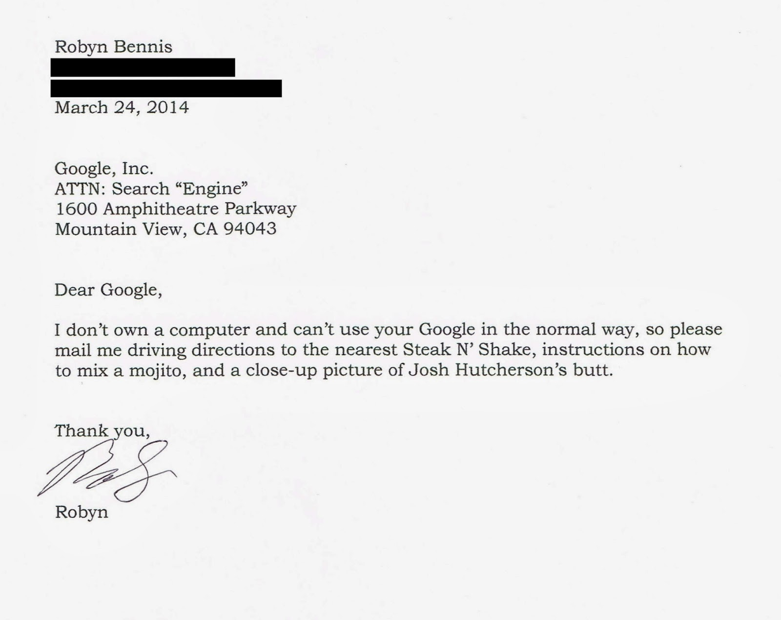 Google Search via letter: Steak N' Shake, mojito, Josh Hutcherson's butt