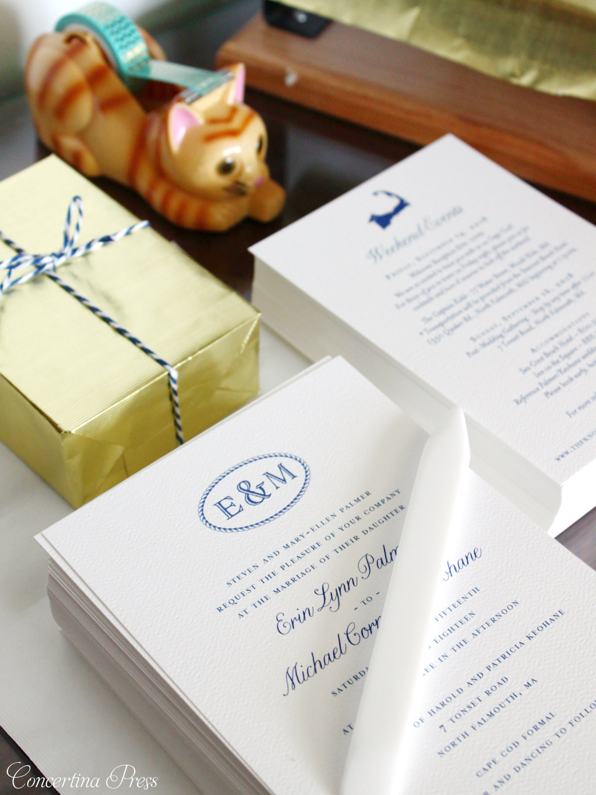 Simple Elegant Cape Cod monogram invitations from Concertina Press
