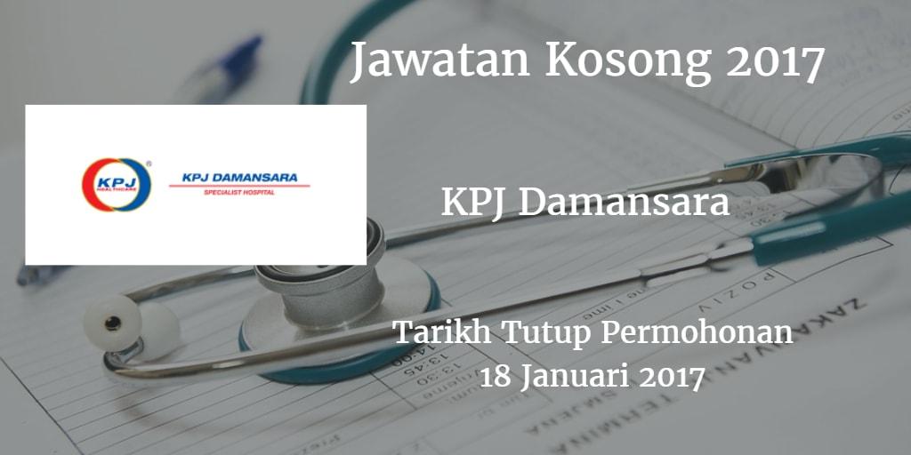 Jawatan Kosong KPJ Damansara 18 Januari 2017