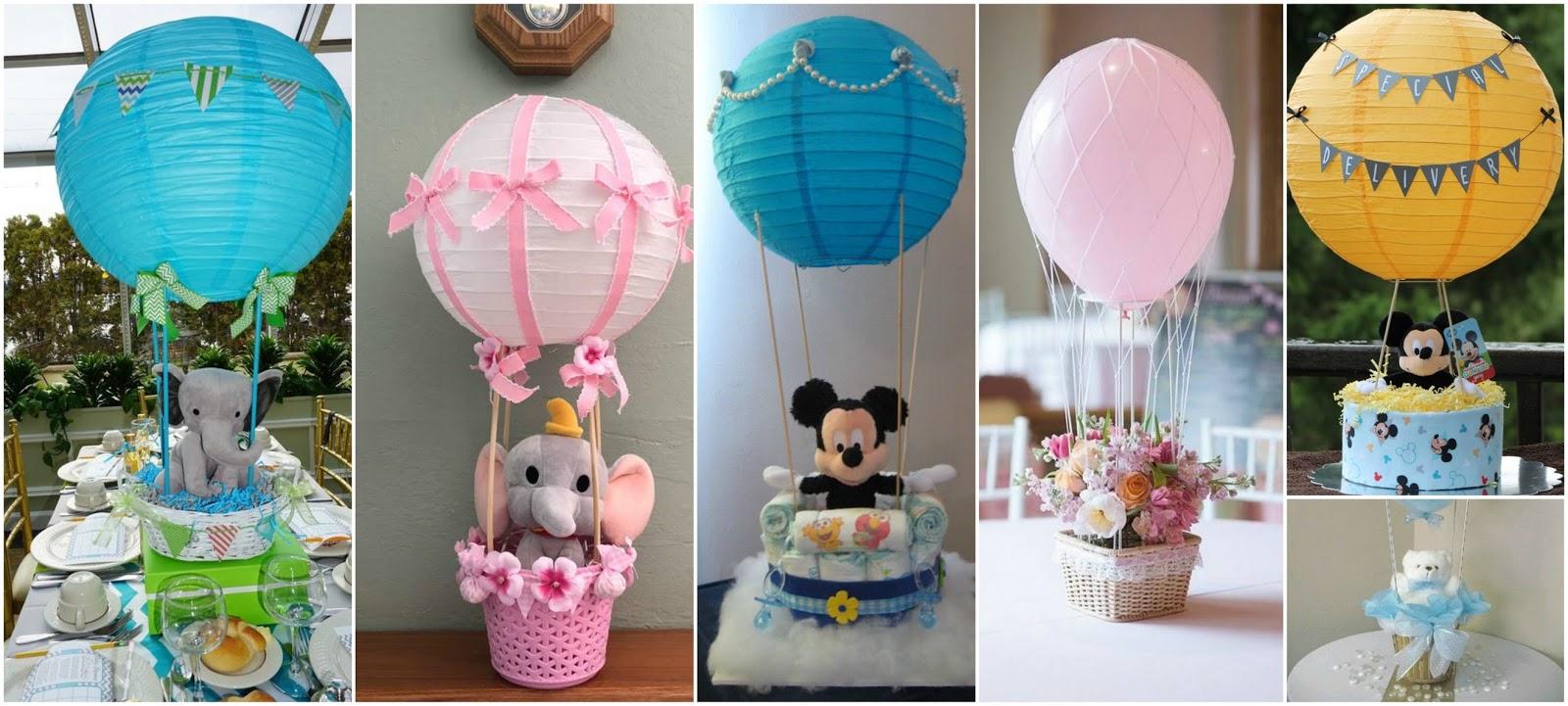 12 Centros de mesa con forma de globos aerostticos para baby shower