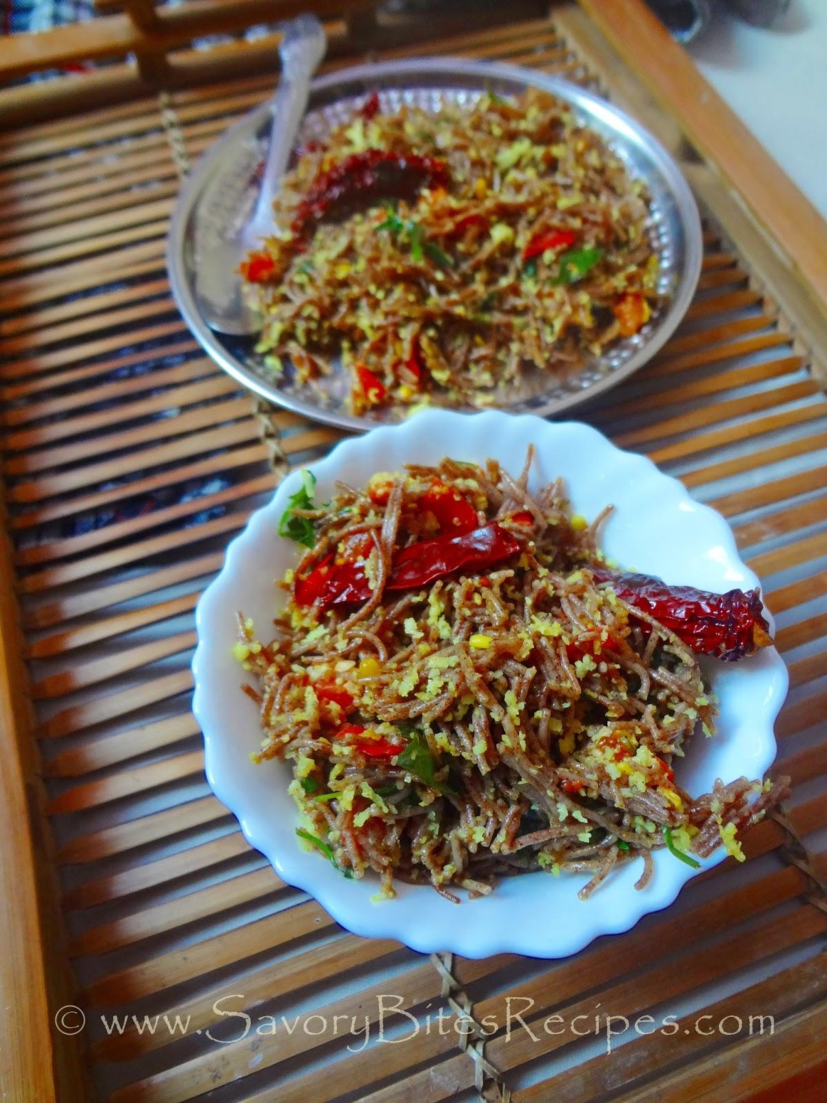 Ragi Finger Millet Vermicelli Upma Indian Vegetarian breakfast