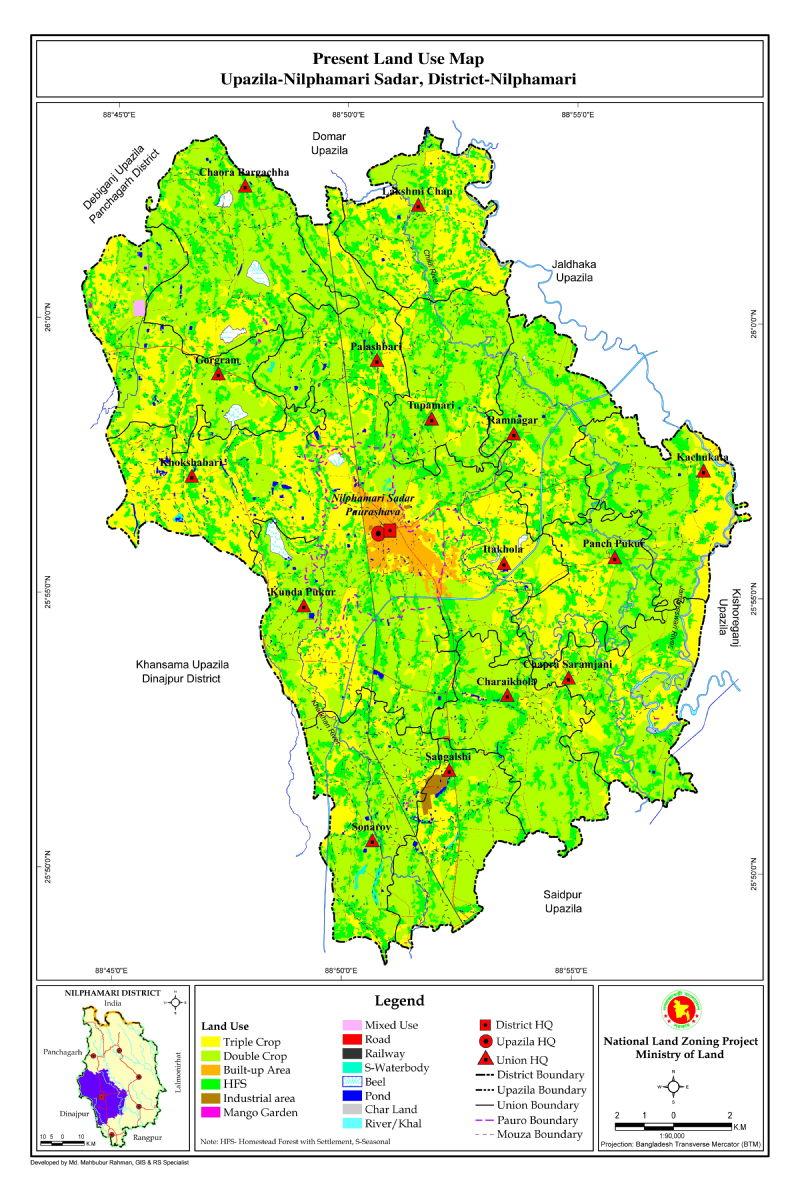Nilphamari Sadar Upazila Mouza Map Nilphamari District Bangladesh