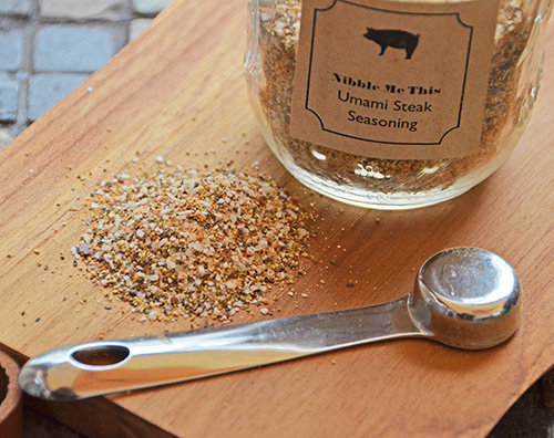 NMT Umami Steak Seasoning recipe is a salt and pepper based seasoning that adds aromatics and a mushroom powder blend.