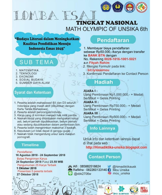 Contest Math Olympic of UNSIKA 6th 2018 di Karawang