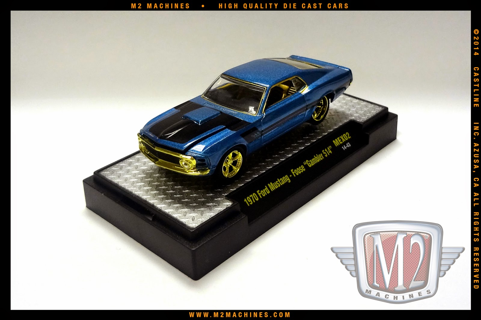 66584b2ef2da9 1970 Foose Gambler 514 Ford Mustang is painted Coastal Blue Pearl with flat  black stripes. The interior is Gold and the wheels are gold chrome Foose  Nitrous ...