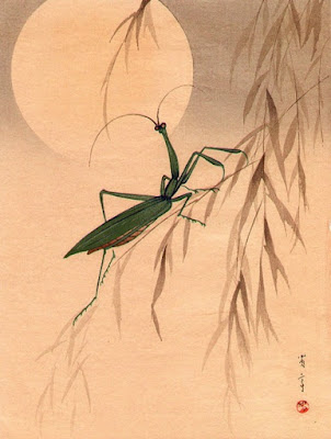 Moon and Praying Mantis by Shotei