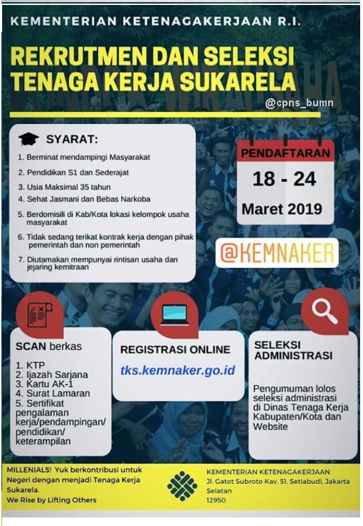 Rekrutmen TKS Kementerian Ketenagakerjaan Republik Indonesia Tahun 2019
