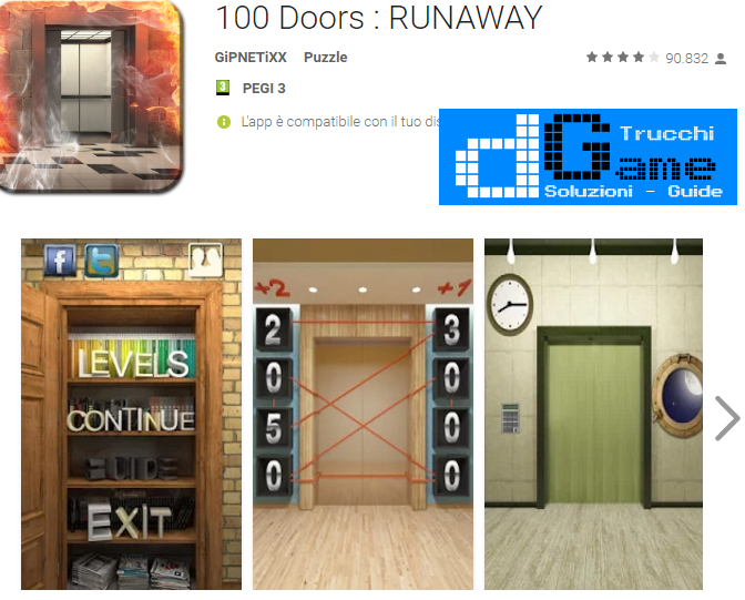 Soluzioni 100 Doors: RUNAWAY livello 78-79-80-81-82-83-84-85-86-87-88-89-90 | Trucchi e Walkthrough level