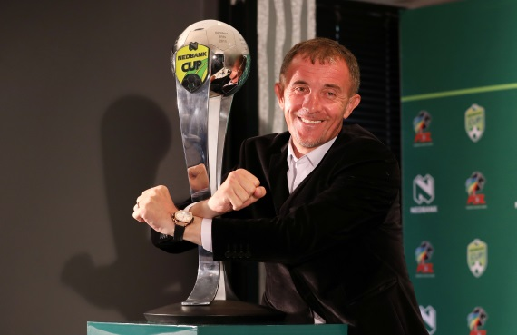 Orlando Pirates boss Micho Sredojevic poses with the Nedbank cup
