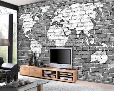 tegeltapet svartvit världskarta fototapet vardagsrum tegelvägg fondtapet