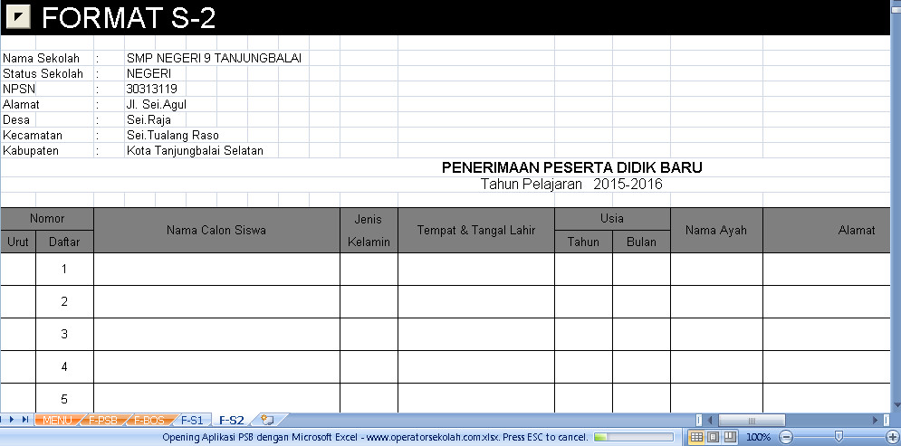 Software PSB Aplikasi Excel Free Download