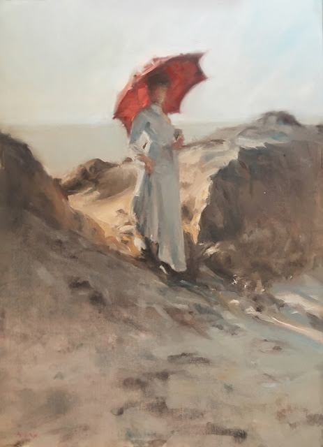 "Oil Painting of Girl on Beach with Umbrella Oil on Canvas 12x17"" by Ryan Ahern"
