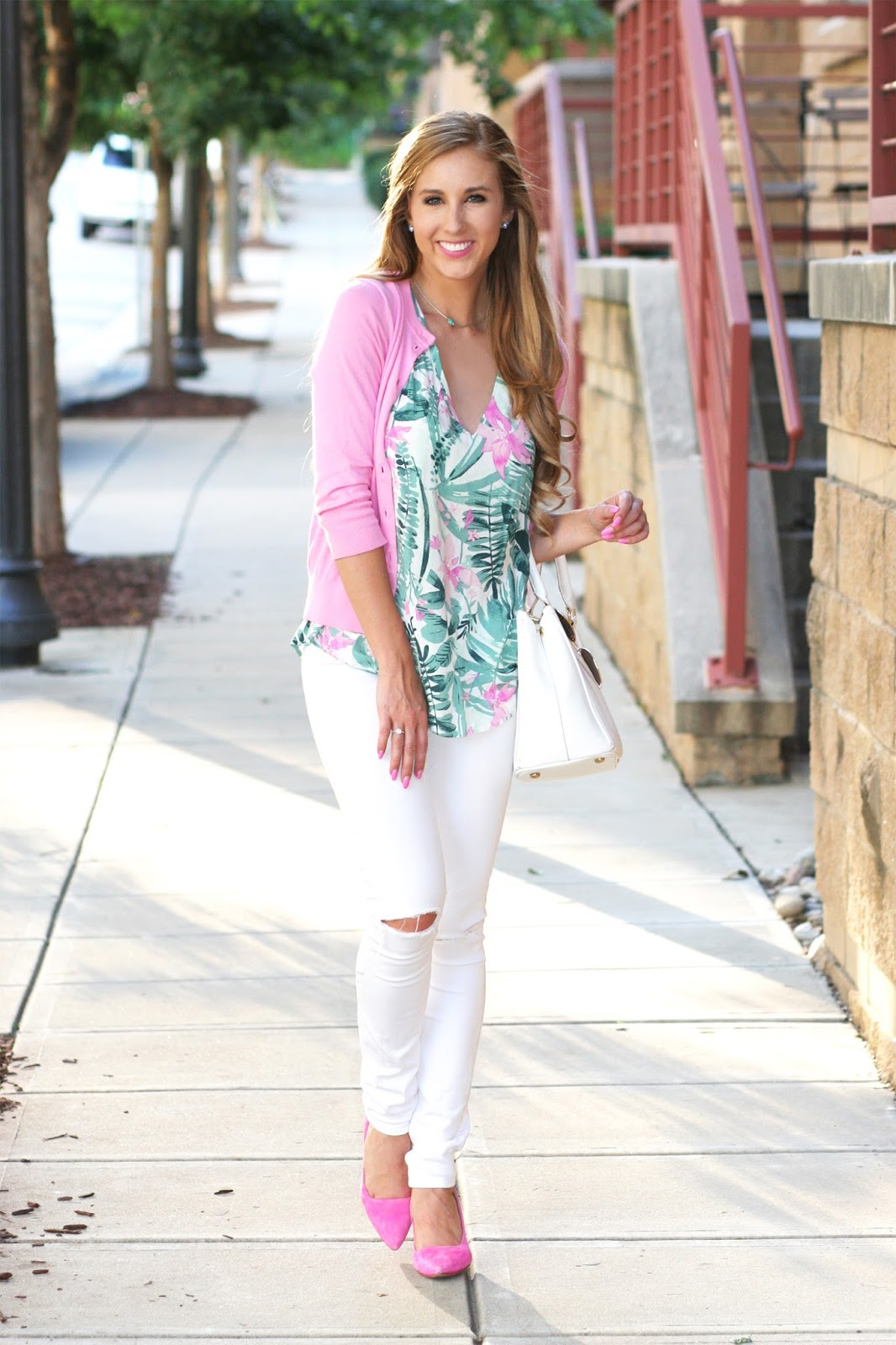 Green-and-pink-palm-print-with-classic-cardigan