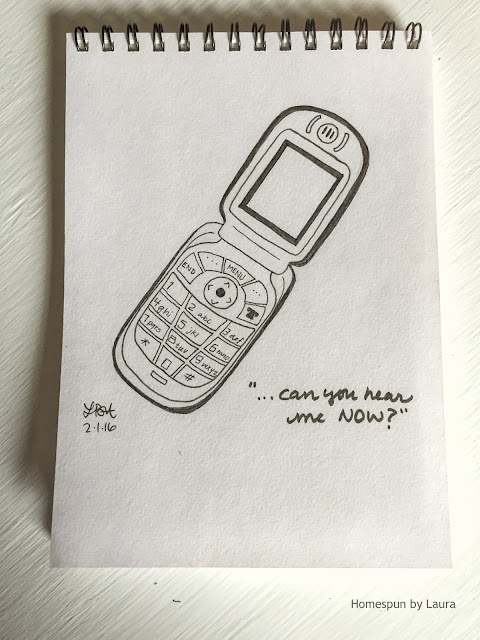 homespun by laura daily doodle pen drawing flip phone