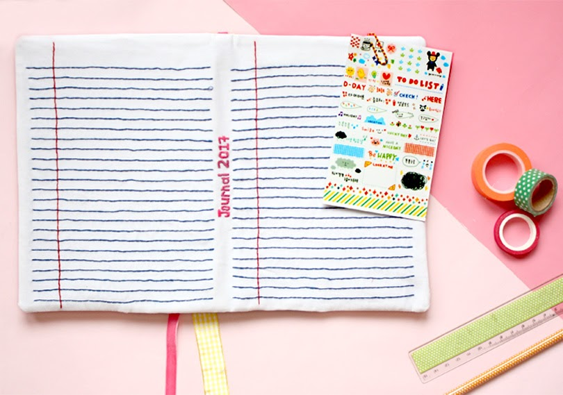 diy fabric journal cover embroidery