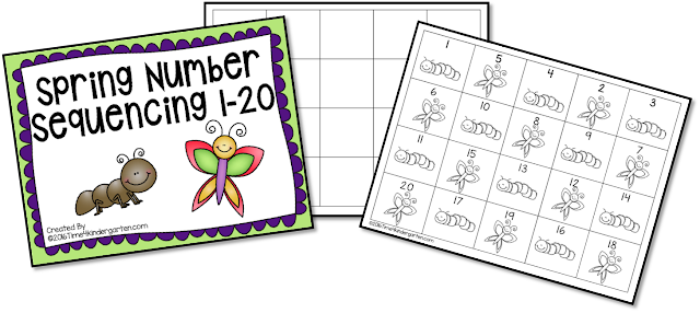 Number sequencing 1-20: Free from Time4Kindergarten.com available at https://www.teacherspayteachers.com/Product/Spring-Number-Sequencing-1-20-2494167