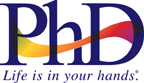 "PhD logo ""life is in your hands"" tagline"