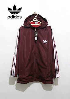 Jaket Adidas Parasut Full Coklat List Putih 019 Originals