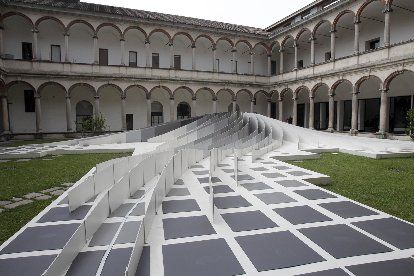"The 'Twirl' sculpture shown at the ""Statale"" University during Milan's Furnishing Accessories Exhibition in 2011."