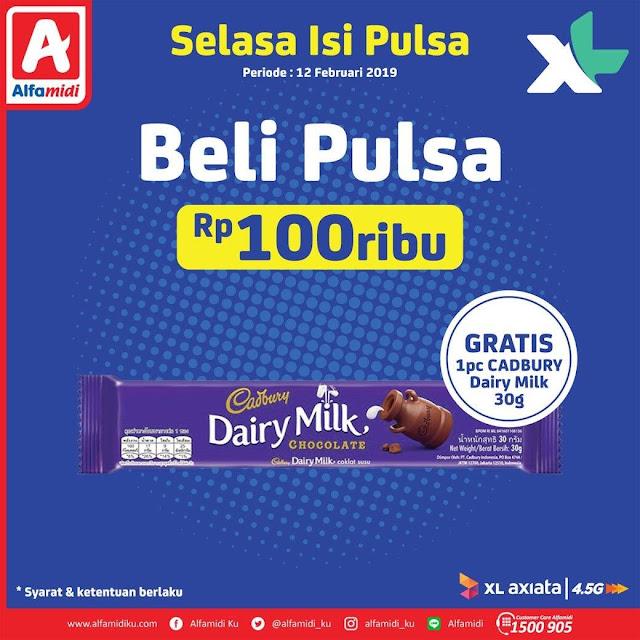 #Alfamidi - #Promo Beli Pulsa XL 100K Gratis 1PC Cadbury Dairy Milk 30 gr (12 Feb 2019)