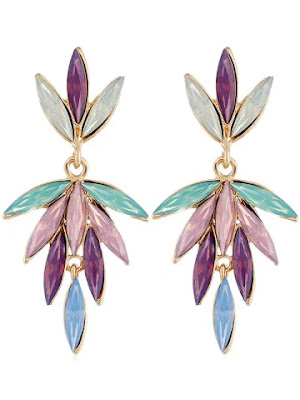 Unique Colored Faux Crystal Floral Drop Earrings