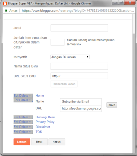 Membuat tombol subscribe email di blog