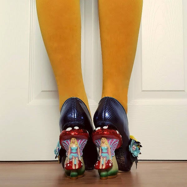 wearing fairy toadstool heel shoes