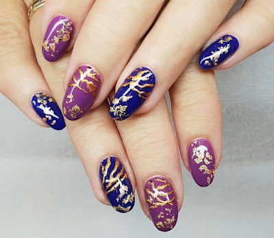 CND Wild Earth Nail Art with Blue Moon, Dreamcatche and gold foil