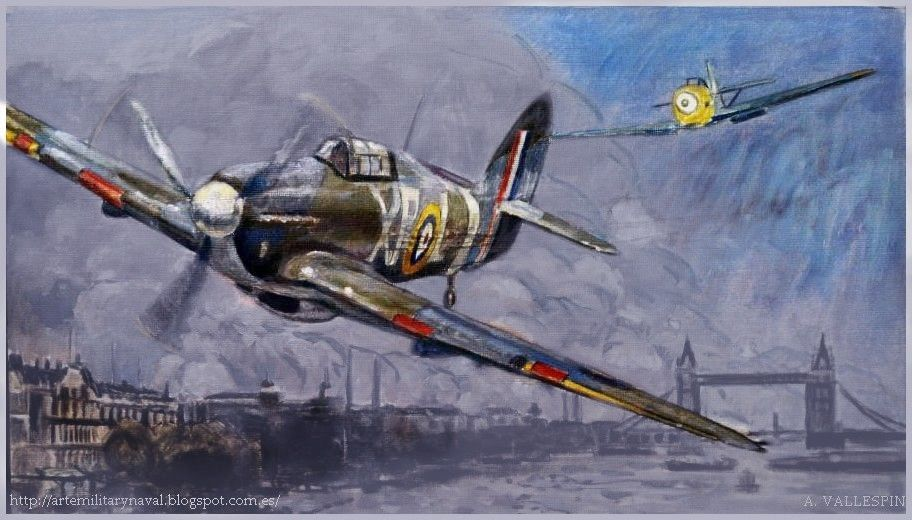 Pintura de un Hawker Hurricane derribado por Hans-Joachim Marseille