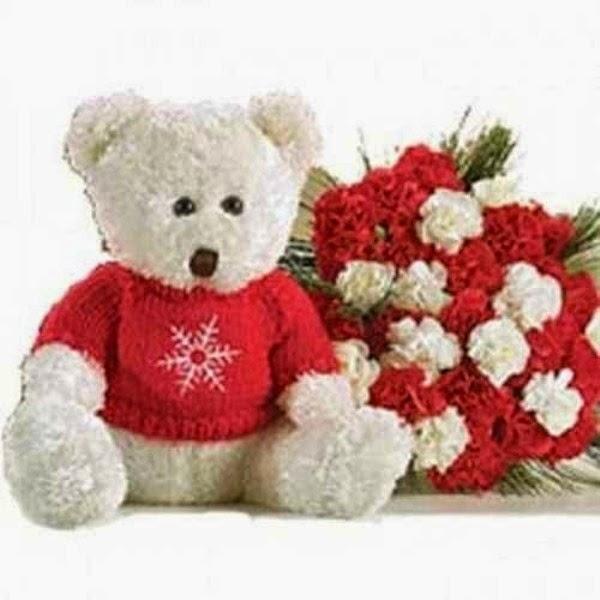 Gambar lucu boneka beruang putih bawa bunga