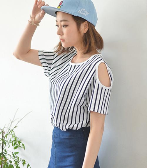 Striped Cut Out Shoulder Top