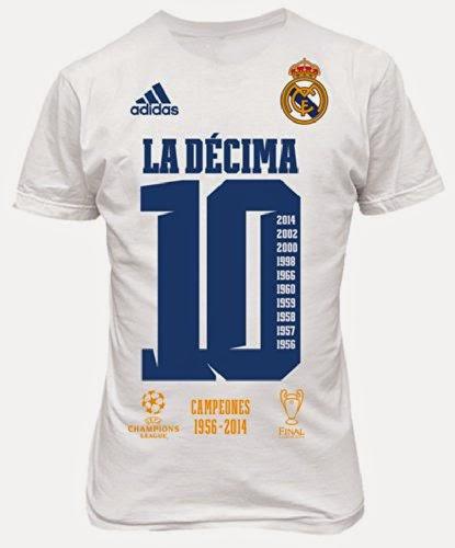 Camiseta blanca conmemorativa de la Décima Copa de Europa que ganó el Real  Madrid ante el Atlético de Madrid el 24 de Mayo de 2014 4c040d2727312