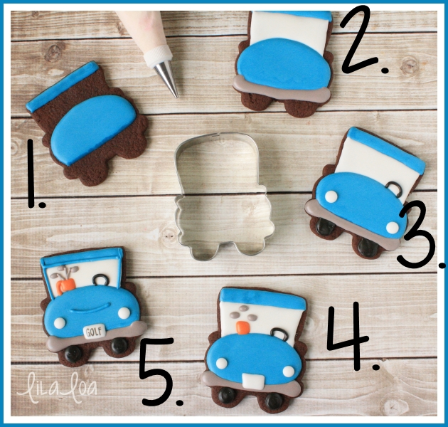 A golf cart sugar cookie decorating tutorial - step-by-step