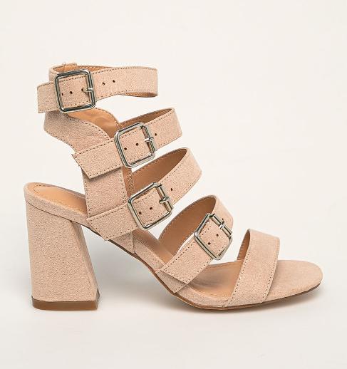 Sandale roz de zi elegante cu toc gros piele intoarsa eco