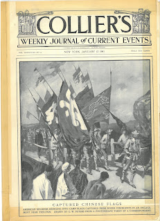 "A black and white cover of the Collier's Weekly Magazine. The word ""Collier's"" is written in big letters across on the very top of the page. Both sides of the title are decorated with illustrations of different farming tools and studying utensils. In smaller fonts, ""weekly journal of current events""are written right below. The majority of the cover page is a black and white illustration with a caption that reads ""captured Chinese flags."" In the illustration, an endless row of soldiers are marching with flags of various designs, most of them depicting imaginary animals like dragon. In the front of the illustration stand people looking at the military parade."