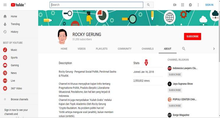 Ternyata Rocky Gerung Juga Seorang Youtubers