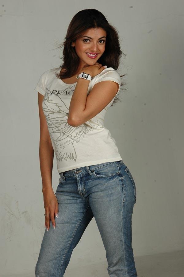 Kajal Agarwal Cute Stills In Blue Jeans