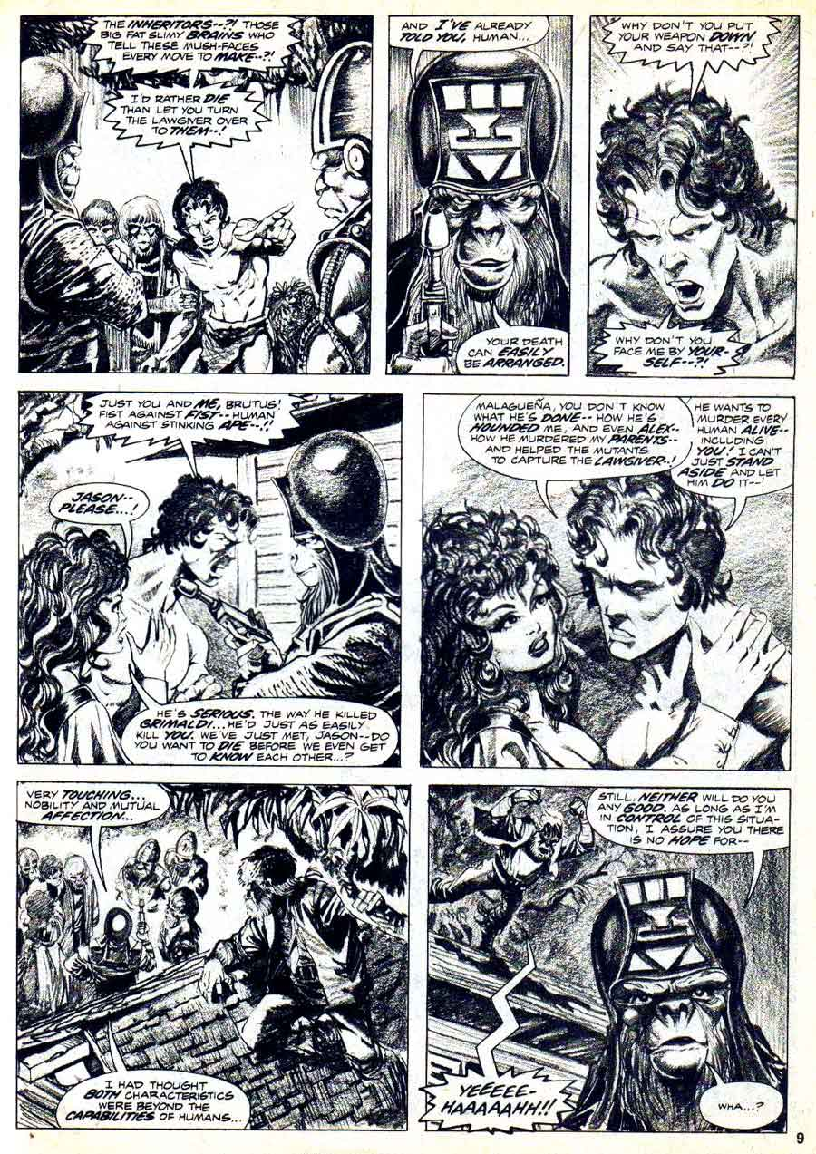 Planet of the Apes v1 #8 curtis magazine page art by Mike Ploog
