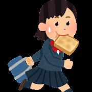 食パンをくわえて登校する女の子のイラスト