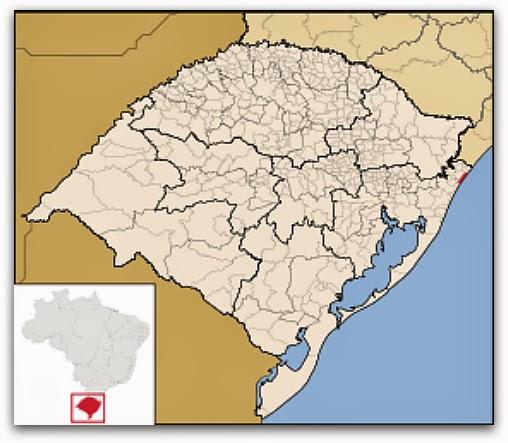 Cidade de Arroio do Sal, no mapa do Rio Grande do Sul