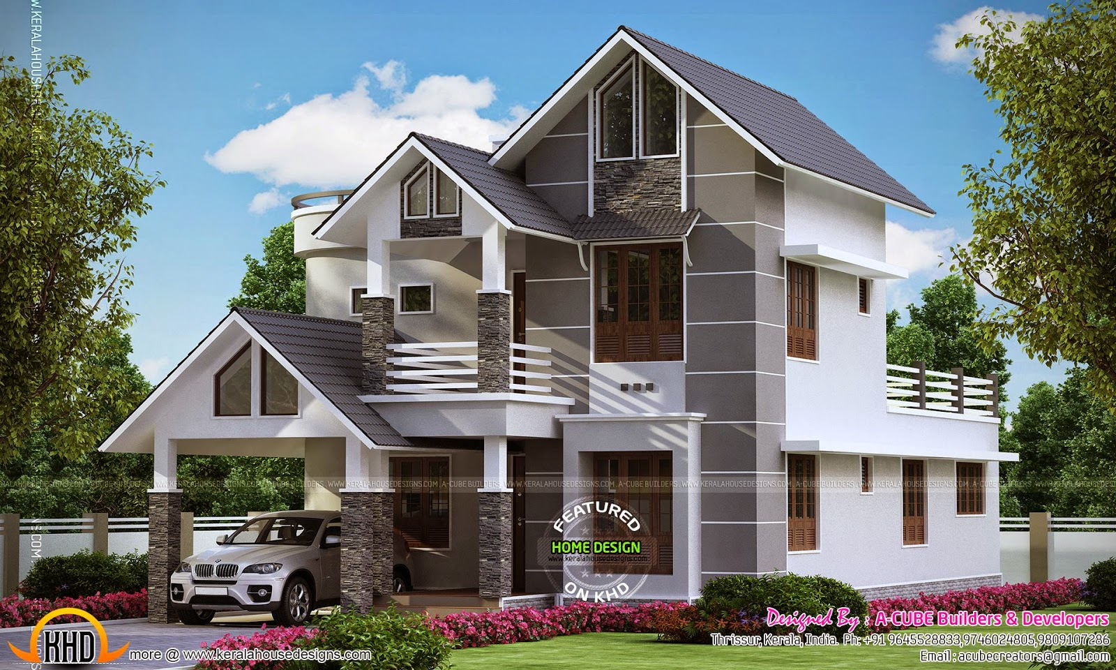 Modern sober coloured sloping roof house kerala home for Slope home design