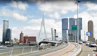 The Erasmus Bridge is a bridge connecting the north and south parts of City of Rotterdam