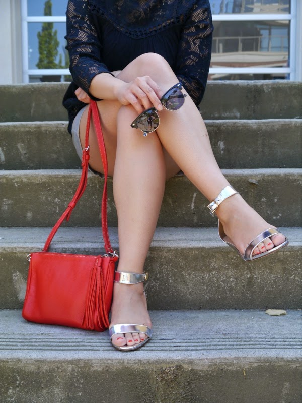 Shades, little red bag, and silver metallic leather wedge sandals