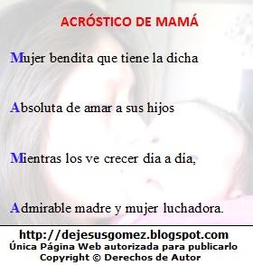 Imagen con acróstico con la palabra Mamá de Jesus Gómez