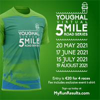 Youghal AC Virtual 5-mile race series - 3rd Thurs of May, Jun, Jul & Aug 2021