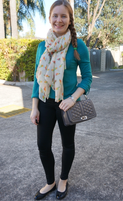 teal henley skinny jeans parrot print scarf rebecca minkoff love quilted bag winter style | away from blue