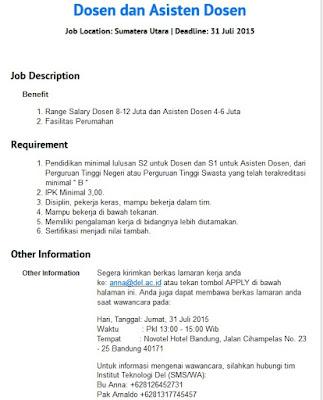 Lowongan Kerja Di Hotel Karawang Informasi Lowongan Kerja Loker Terbaru 2016 2017 Lowongan Kerja Medan Dosen Institut Teknologi Del Tobasa Lowongan