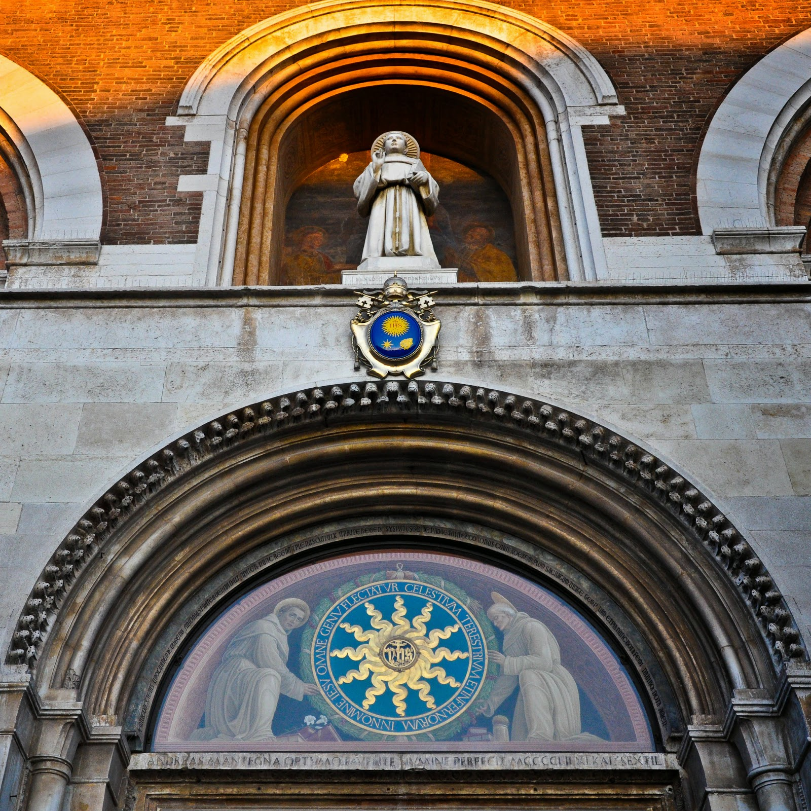 The top part of the main gate of the Basilica of Saint Anthony in Padua, Italy
