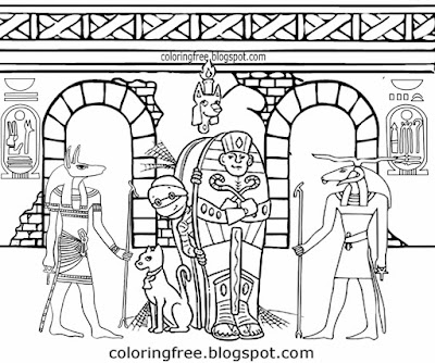 Egypt tomb Jackal spooky chamber Egyptian mummy monster Halloween drawings for older kids coloring